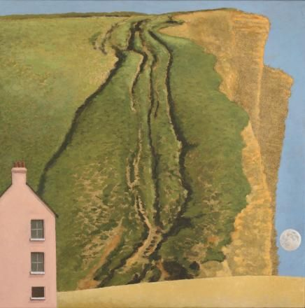 """""""Pink House, East Cliff, West Bay"""" by David Inshaw, 2014. The painting depicts Stanley Kubrick's home in Dorset."""