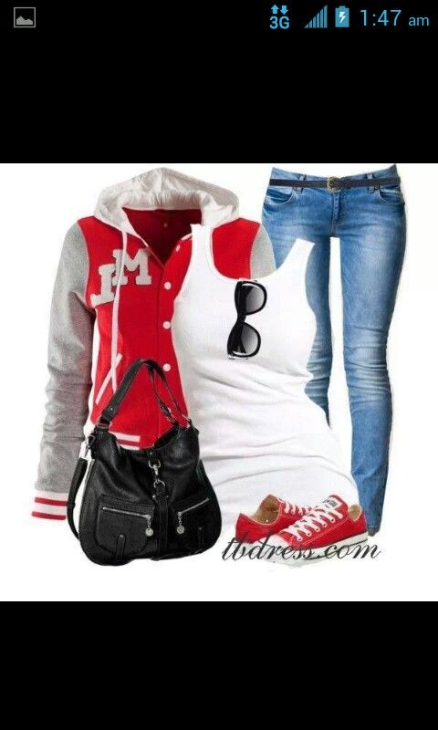 Love the Letterman jacket and the convers