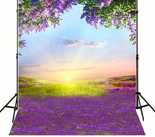5x7ft(150x210cm) Scenery Hintergrund Fotografie Lavender weiß Cloud Hochzeit Hintergründe