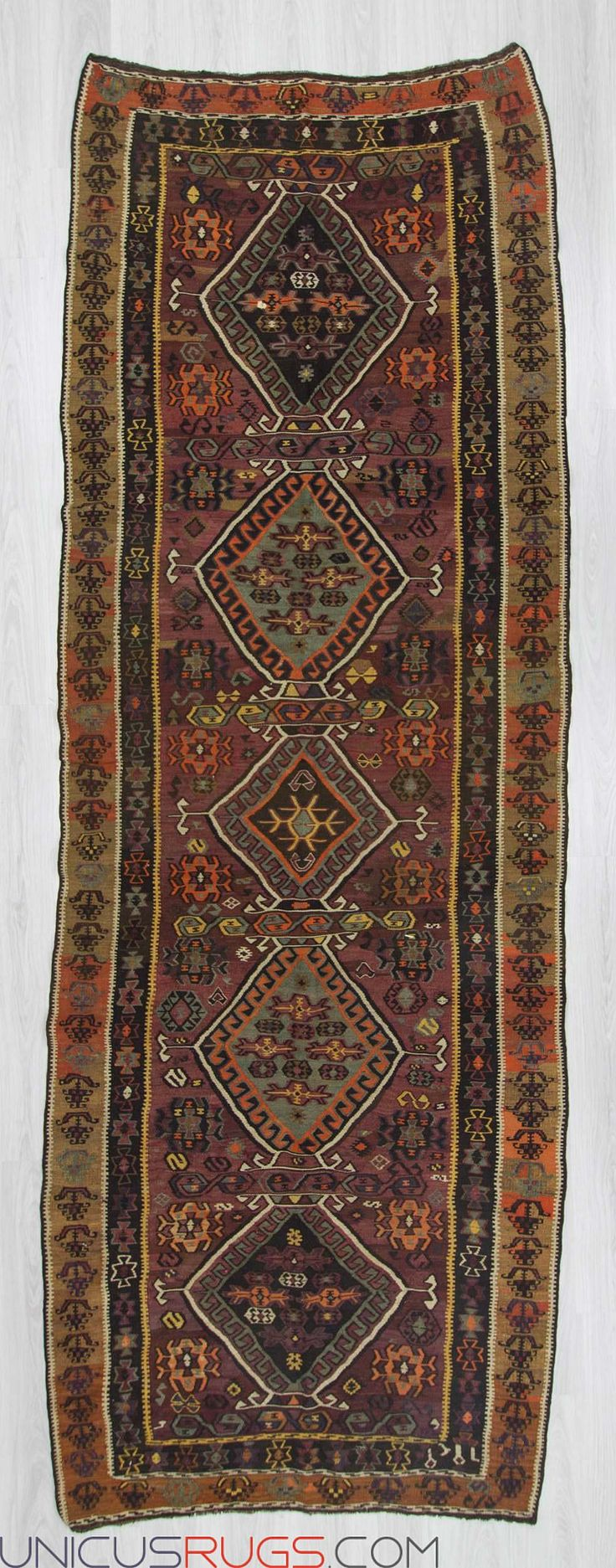"Vintage kilim rug from Kars region of Turkey.In good condition.Approximately 55-65 years old Width: 4' 6"" - Length: 12' 7""  Colorful Kilims"