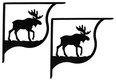 Wrought Iron Moose Shelf Brackets Corner Accent 6in