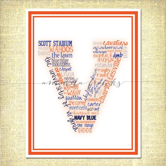 University of Virginia UVA Typographical Art Print by alefranks, $22.00