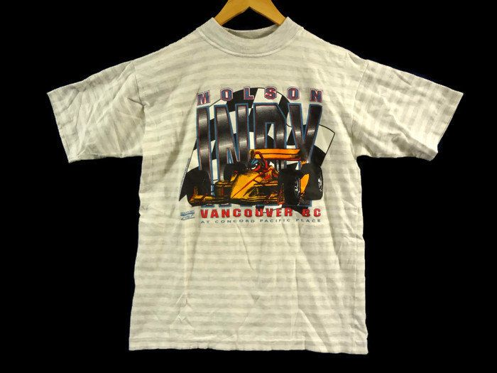 Vintage 90s Molson Indy Vancouver Tee - Large - White with Grey Stripes - Indy Car Racing - Indy 500 - Formula 1 - Vancouver BC Canada by BLACKMAGIKA on Etsy
