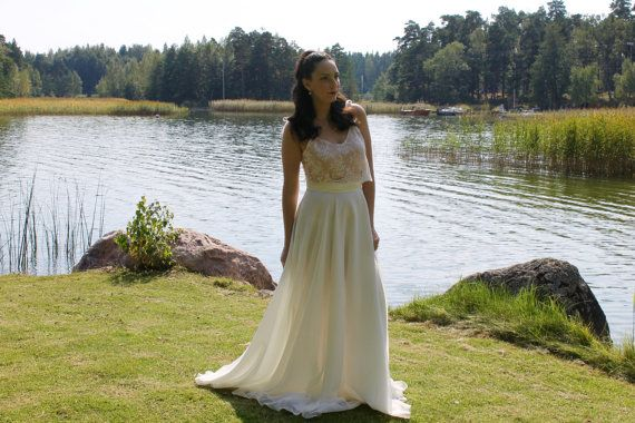 Crop top wedding dress lace wedding dress by BatelBoutiqueBridal
