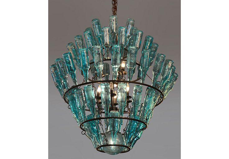 Bottle Ridge Turquoise Chandelier-Servers (Blue)