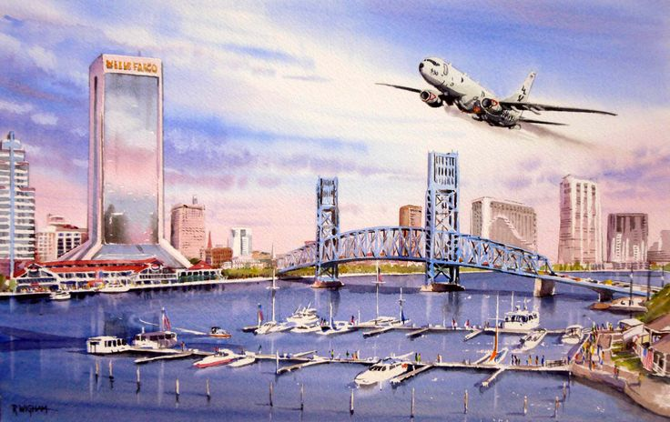 'JAX Flypast', watercolour, 48 x 33 cm. A P-8A Poseidon of VP-30 flies past the Jacksonville Landing, Jacksonville, FL.