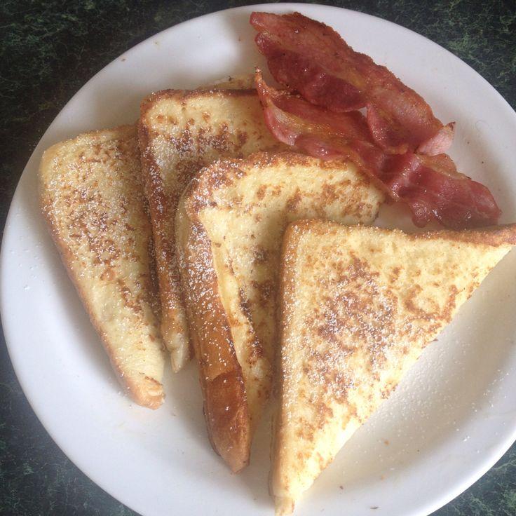 French toast, streaky bacon