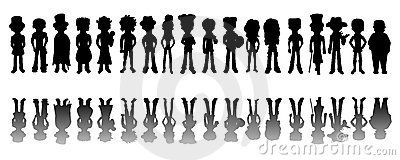 Cartoon posing people silhouettes collection isolated on a white background