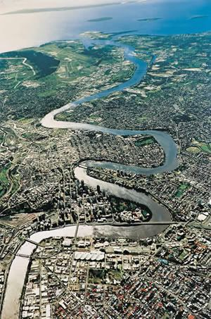 Brisbane River, aerial photo.  The Brisbane River is the longest river in south east Queensland, Australia.