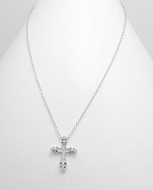 Sterling Silver Necklace with Diamante Cross by SunshineNShowers, £20.00