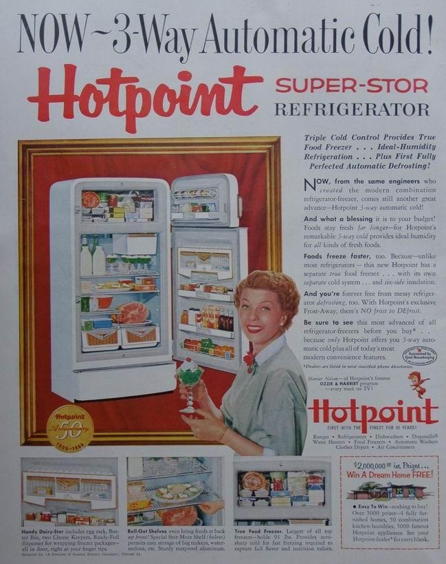 1955 Harriet Nelson Hotpoint Refrigerator ad