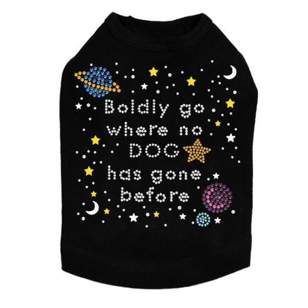 Boldly Go Where No Dog Has Gone Before Rhinestone Dog Tank – Bark Label