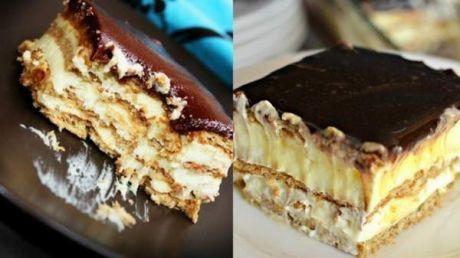 """Вкуснющий торт-эклер без выпечки: этот десерт вскружит голову любому сладкоежке! хрустящее печенье 500 г(можно песочное или""""Юбилейное"""" ), 500 мл молока 2,5 ст. л. кукурузного крахмала 3 ст. л. сахара 1 желток 0,10 мл ванильной эссенции порошок для ванильного пудинга 1-2 пачки Ингредиенты для глазури: 4 ст. л. сахара 2 ч. л. какао-порошка 1 ст. л. молока 50 г сливочного масла"""