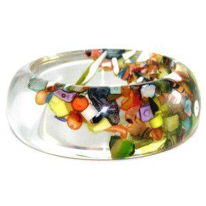 Medium Cascade Cuff by Sobral -- shiny, bright, colorful!: Bracelet, Idea, Cascade Bangle, Resins, Resin Crafts, Bangles