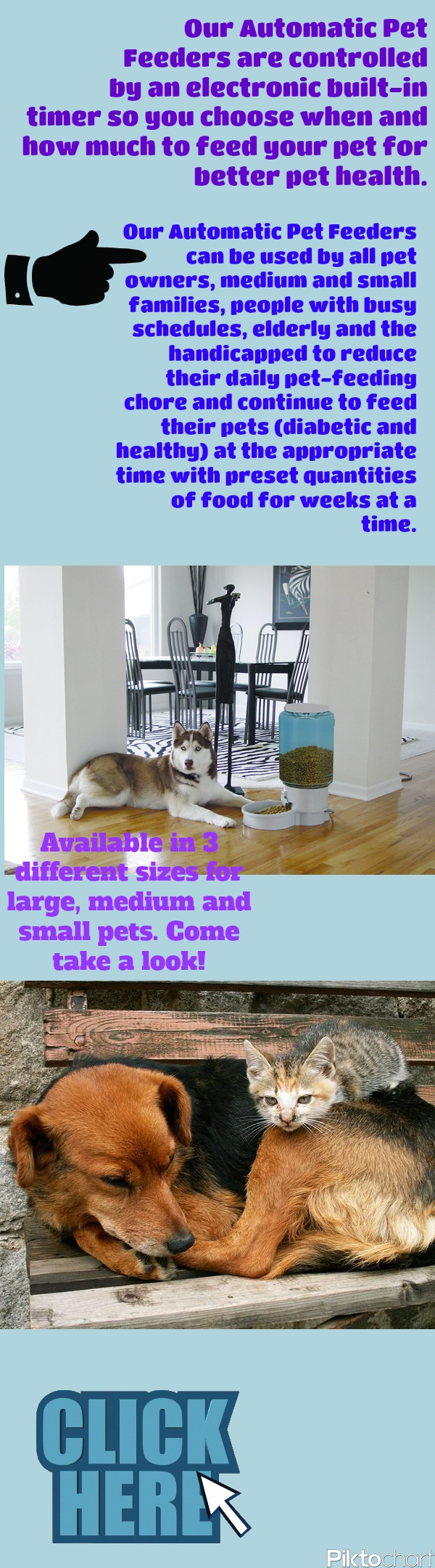 Please visit our # pet feeder website by clicking this link or on the graphic above:  http://acornpetco.com/Automatic-Pet-Feeders  to learn more about this system. $69.99 with free shipping and no sales tax.