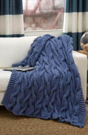 Casual Cables Throw ~ UPDAGTED DEC. 12, 2016 ~ cozy and warm ~ as a gift for someone or perhaps yourself ~ easy level ~ KNIT - FREE