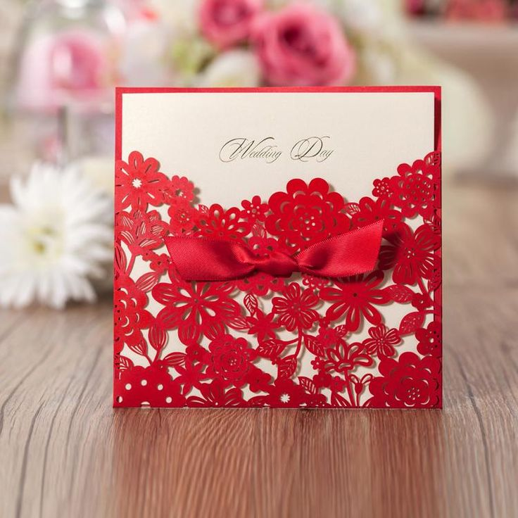 2015 Personalized Printable Elegant Wedding Invitations Cards Red Laser Cut  Floral With Ribbon 150*150cm