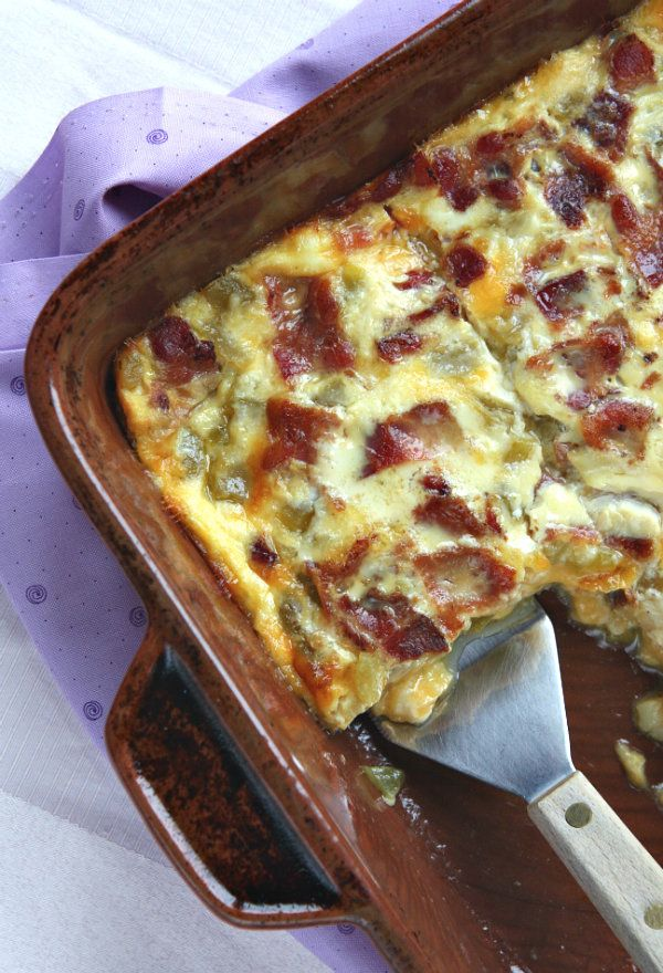 Green Chile, Bacon and Cheese Egg Bake #recipe