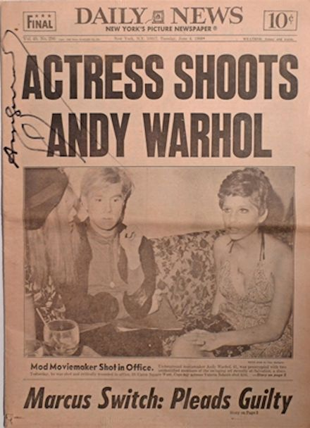 Thisis the June 4, 1968 issue of the New York Daily News, the headline of which reads Actress Shoots Andy Warhol. This issue was published the day after the artist was shot by radical feminist Valerie Solanas. It is the only known copy personally signed by Warhol