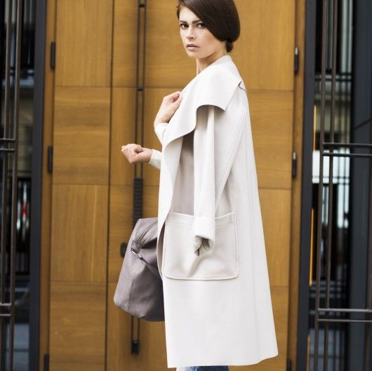 kurtki i płaszcze-Płaszcz AGATHE jasny bez
