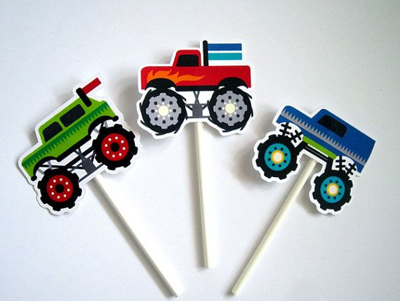 This listing is for (3) monster truck centerpiece sticks. These cute monster truck decorations will look great at your monster truck birthday party.