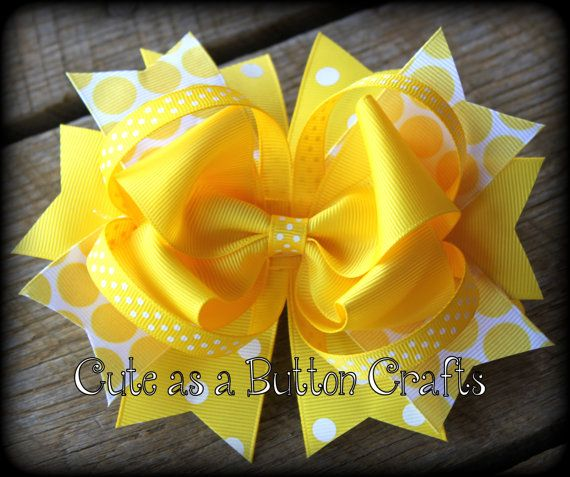 LARGE mega bow over the top bright and colorful loopy mix and match  Boutique Hairbow, Bright Yellow. $9.50, via Etsy.