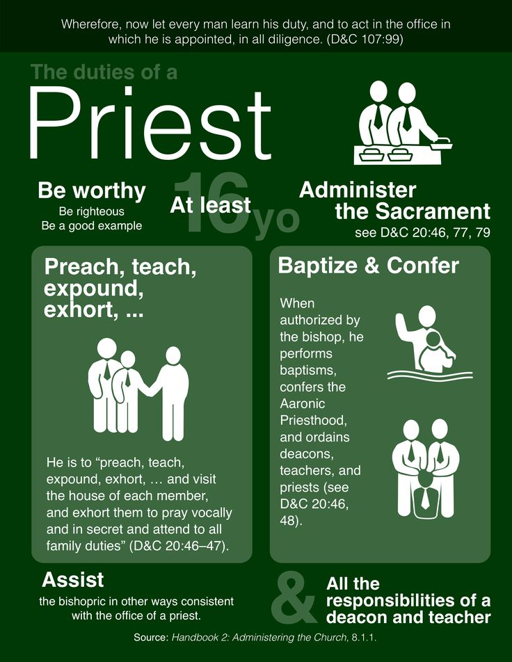The duties of a priest. Check out my Religion Matters board for the duties of Deacons and Teachers. https://www.pinterest.com/youngb2/religion-matters/ #LDS #Mormon #Aaronic Priesthood #Priest #Duties
