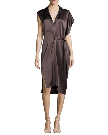 89f3020d0d694 Women s Contemporary Clothing at Bergdorf Goodman. HALSTON HERITAGE  Asymmetric Satin Shirtdress W  Sash