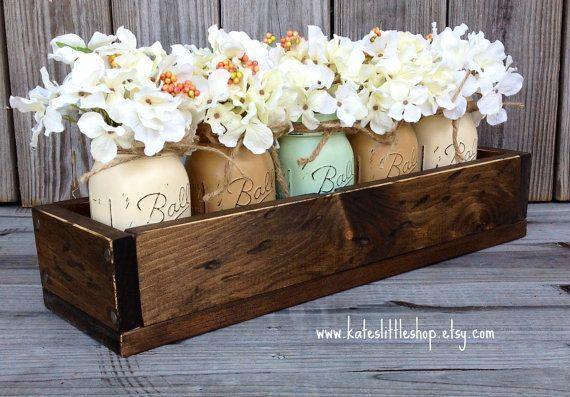 Rustic Planter Box with Painted Mason Jars. Centerpiece. Shabby Chic Blue. Vintage White. Cream. Tan Mason Jars. Painted Mason Jars. Rustic. on Etsy, $64.50
