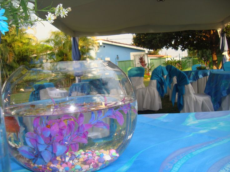 Fiesta decorado en azul con centros de mesas con peces - Como se sirve en la mesa ...