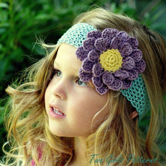 Easy Crochet headband pattern 6 headbands and por TwoGirlsPatterns
