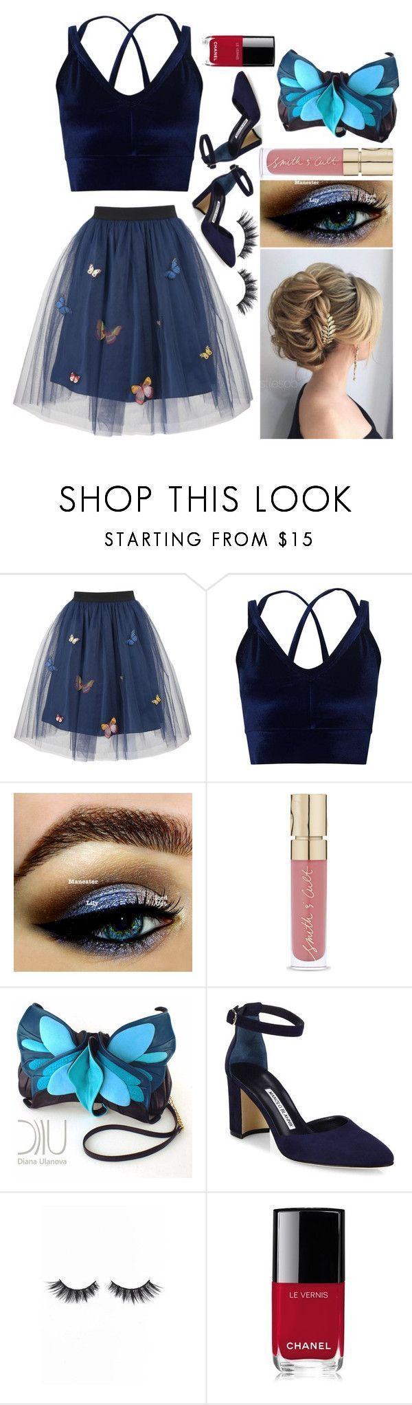 """Ashlee: July 31, 2017"" by disneyfreaks39 ❤ liked on Polyvore featuring George J. Love, Miss Selfridge, Smith & Cult, Manolo Blahnik, Violet Voss and Chanel #manoloblahnik2017"