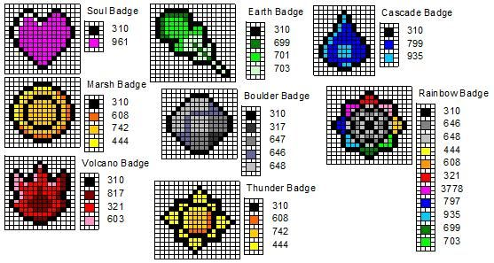 Crochet Fanatic: Gym Badges for Red, Blue, Green, & Yellow