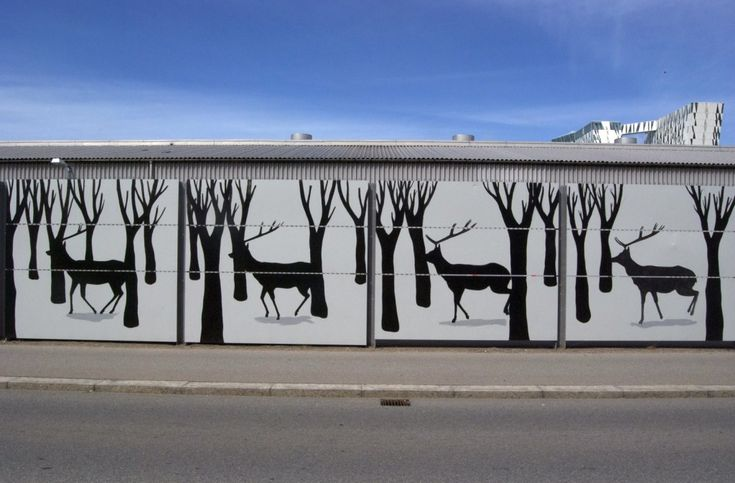 Work by hyuro: in/between, copenaghen. Each panel of the mural has been turned into a still in a stop-motion video.