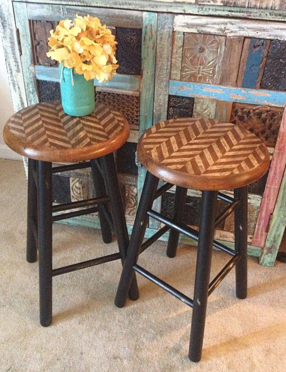 Industrial Stools Wooden Stools Pair of Stools by FurnitureAlchemy
