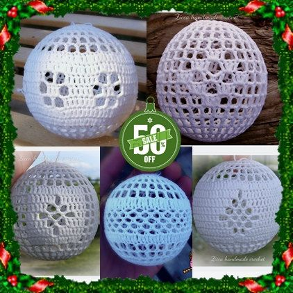 5 crochet christmas ball ornament pdf written patterns  Materials: crochet hook (2mm) crochet thread size 10 balloon textile starch Abbreviations: ch- chain sc- single crochet DC- Double Crochet - sl st- slip stitch - dec  decrease (Dc or sc) - * *repeat step  size: 8 cm, 4 inch