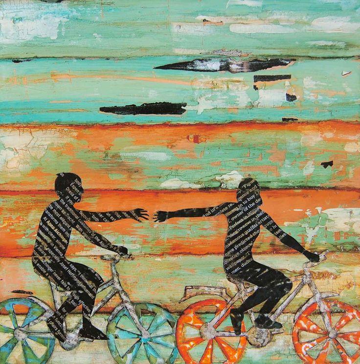 "Bicycle - Beach Art- ""The Chase"" (Romance-couple-bike) - Fine Art Print 5x7 via Etsy."