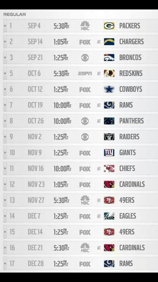 Seattle seahawks schedule 2014 I can't wait!