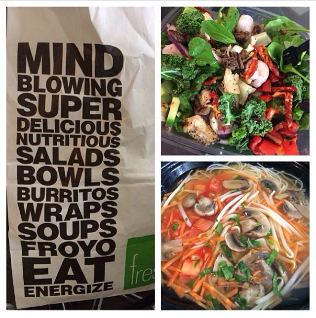 Lunch at #freshii salad with kale as the base and soup #healthychoices #nutrition #fitness #fitnessafterlife #eatwell #enjoytoday