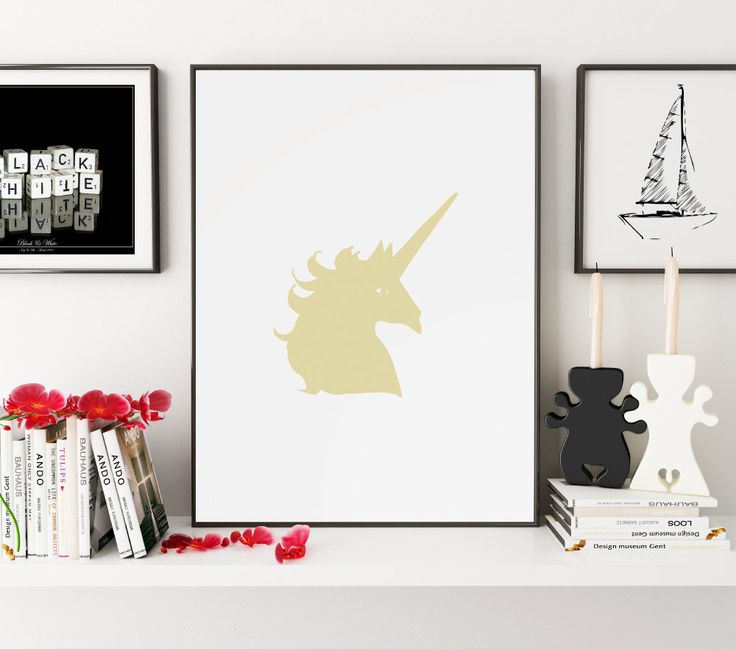 Gold Animals, Gold Print, Gold Wall Art, Unicorn, Unicorn Print, Unicorn Art, Unicorn Wall Art, Gold Unicorn, Unicorn Nursery, Wall Art, Art