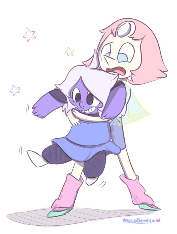 Little Amethyst and little pearl Pequeña amatista y pequeña perla ❤️❤️❤️❤️❤️ todas ellas aliens