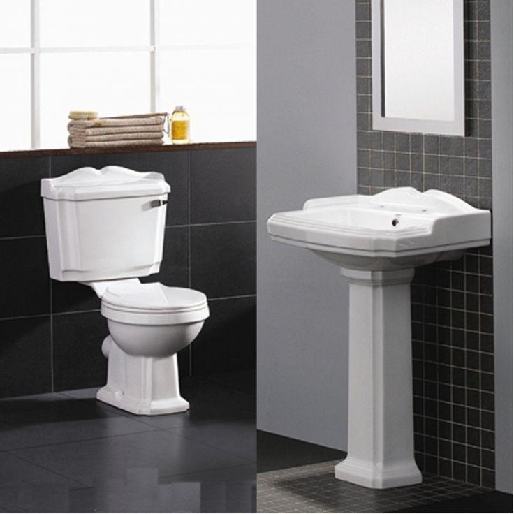 Chic Traditional Toilet, Basin  Pedestal Bathroom Suite