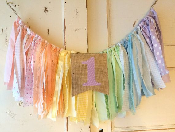 Rainbow High Chair Banner. Girls First Birthday by QuiltedCupcake