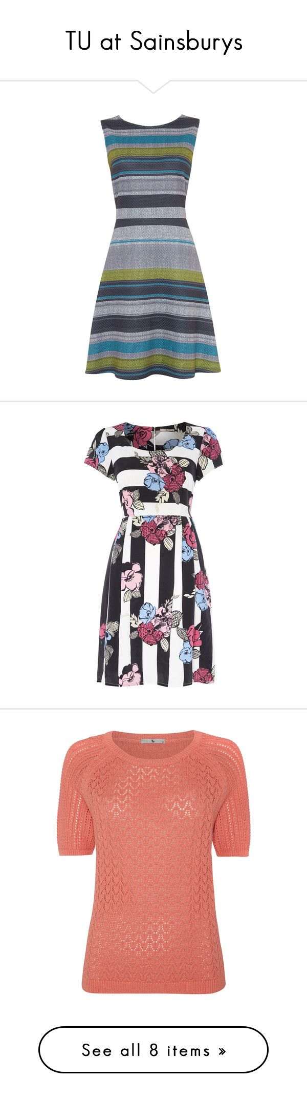 TU at Sainsburys by booksnbrooches on Polyvore featuring dresses, geometric print dress, a line dress, sleeveless striped dress, print dress, ponte dress, striped dress, white knee length dress, floral tea dress and stripe dress
