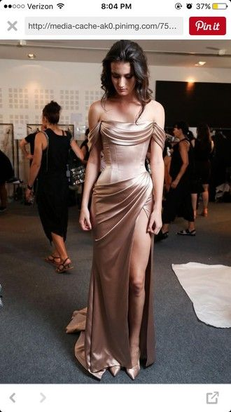 dress gold dress prom dress prom formal dress homecoming dress homecoming satin nude silk dress drape off the shoulder slit dress gown sexy tight long bridesmaid rose gold light pink