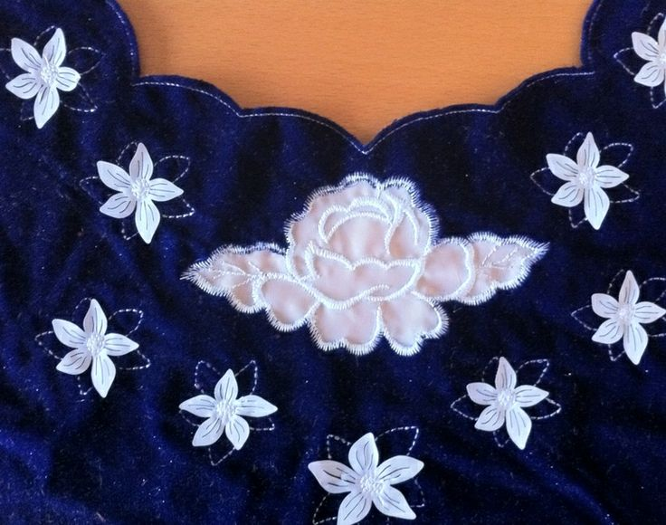 Blu velvet dress with laser cut #applique flowers and embroidery.