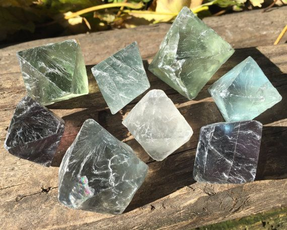 Large Rainbow Fluorite Octahedrons / Natural Geometric