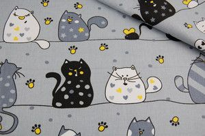 Tkanina bawełniana - Duże koty na szarym 681