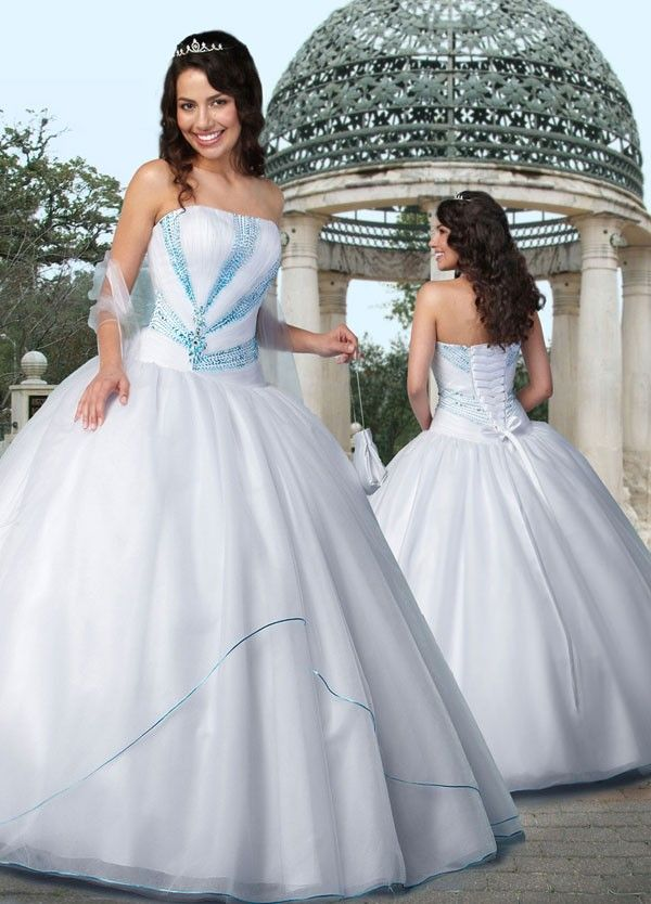 White with Turquoise Sequins Quinceañera/Sweet Sixteen Ball Gown ...