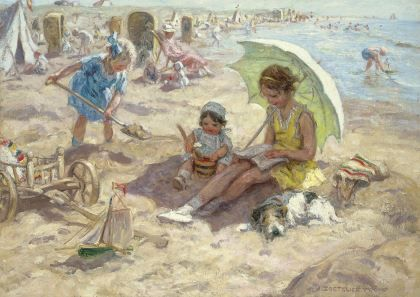 Johannes 'Jan' Zoetelief Tromp (1872-1947) Children playing on the beach of Katwijk, oil on canvas. Collection Simonis & Buunk, The Netherlands